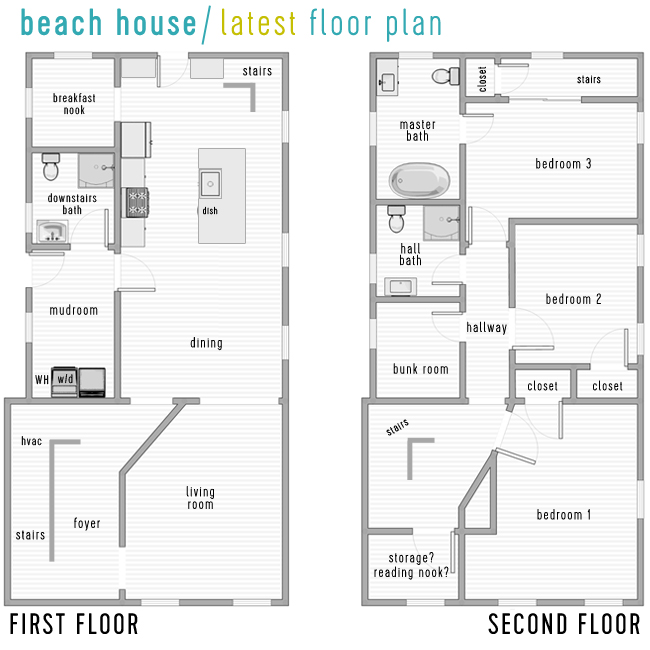 Master Bedroom Upstairs Floor Plans beach house progress: walls up, walls down, & new floor plans