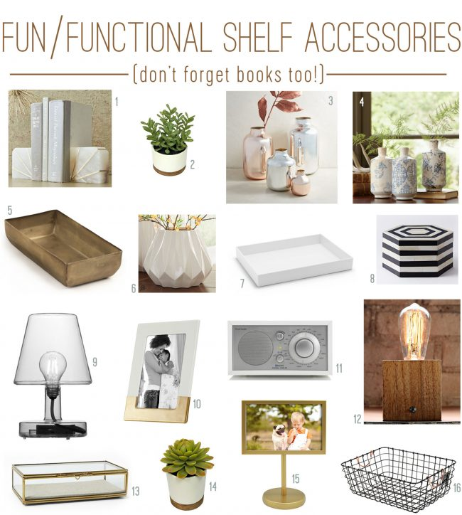 fun and functional neutral bookshelf accessories