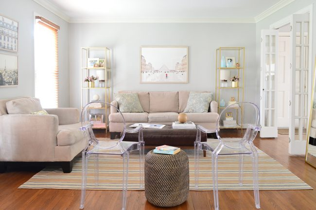 neutral living room makeover after