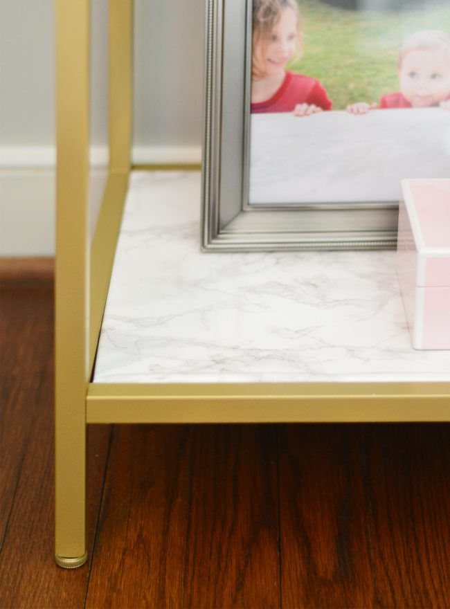 ikea metal shelf hack with gold spray paint marble contact paper