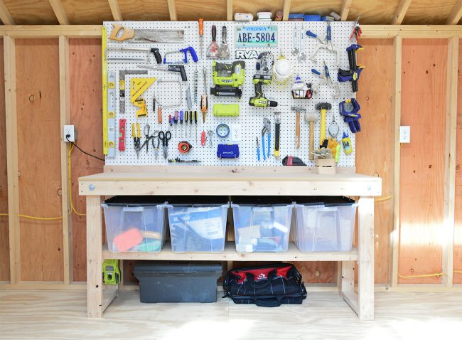 shed storage ideas tool workbench with pegboards