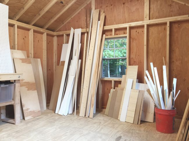 shed storage ideas scrap lumber pile