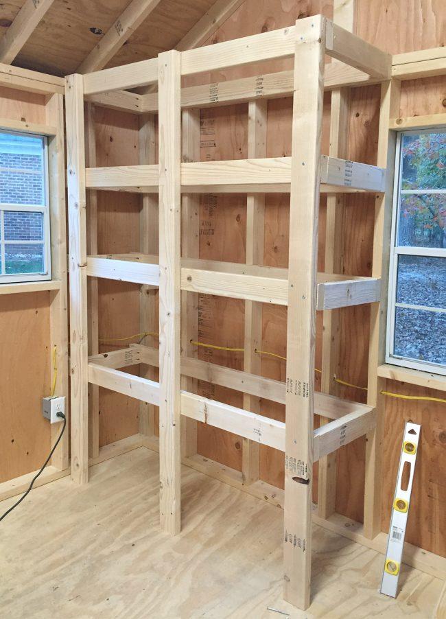 shed storage ideas frame for heavy duty wood shelf