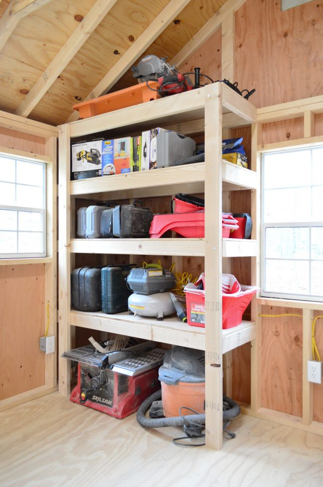 shed storage ideas DIY heavy duty wood shelves
