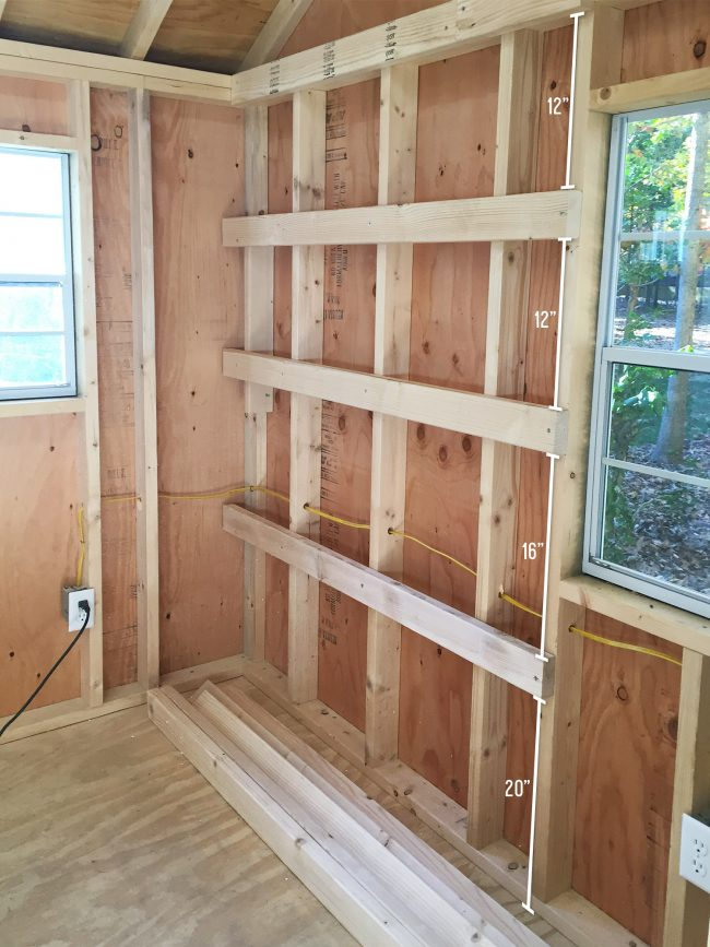 shed storage ideas hanging wood shelves