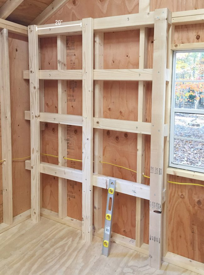 shed storage ideas vertical supports added to wood shelves