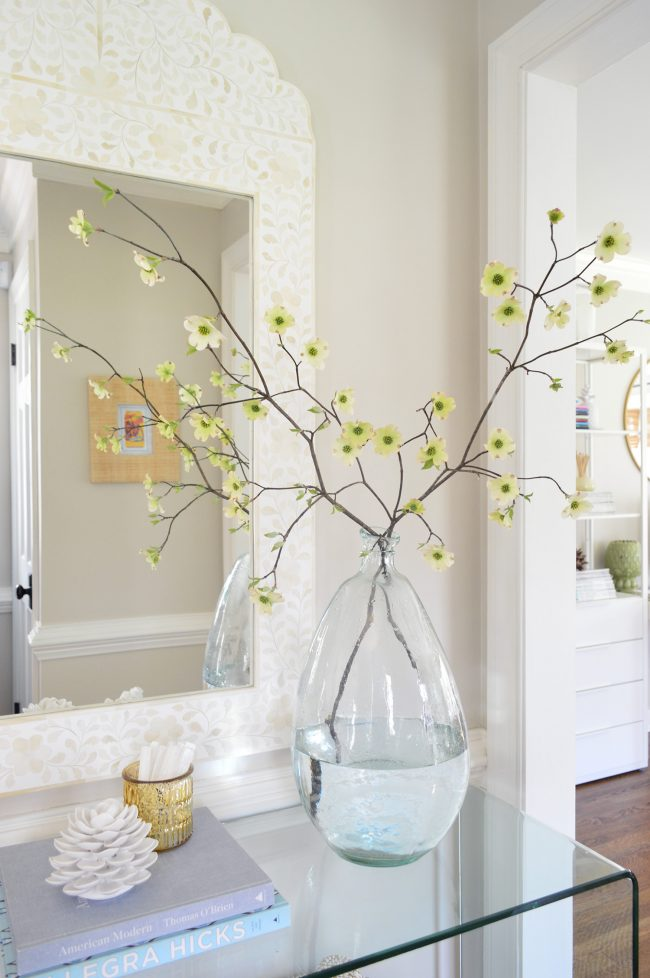 dogwood branches in vase for Easter Tree decor