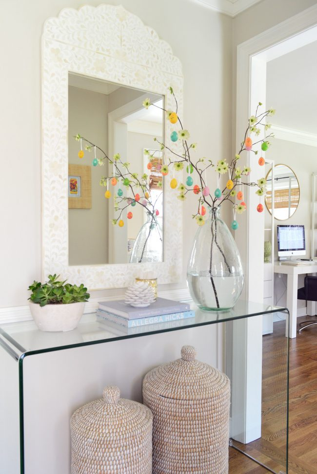 easy easter tree in neutral foyer