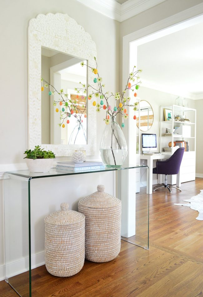 Easter Egg tree in foyer with acrylic console table
