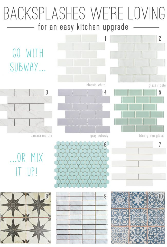 mood board of kitchen backsplash tile sheets for an easy upgrade