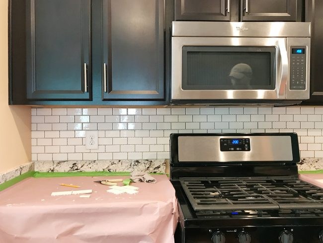 Kitchen Backsplash With Subway Tile Hung But Not Grouted