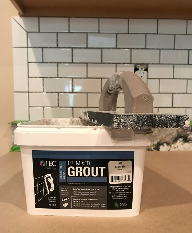 box of premixed grout in Silverado color