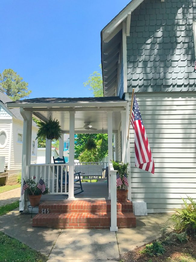 patriotic front porch on shingled beach house