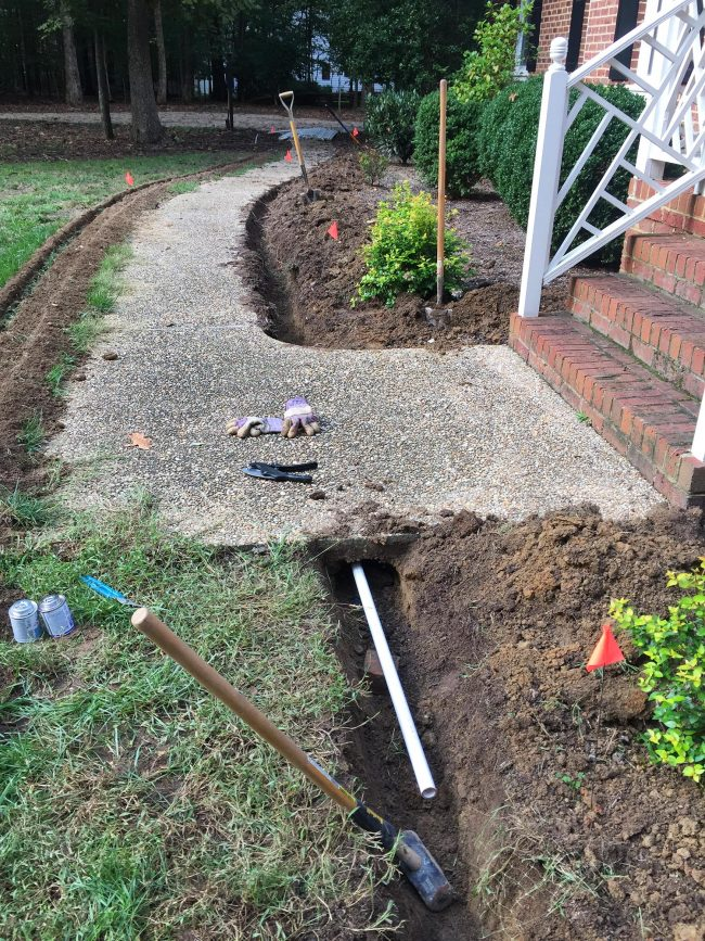 install irrigation system pipe under sidewalk