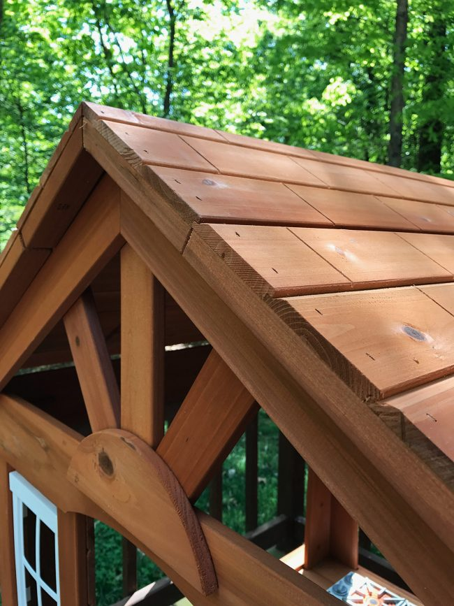 backyard discoveries cedar wooden playhouse roof detail