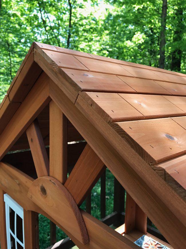backyard discoveries cedar wooden playhouse roof detail