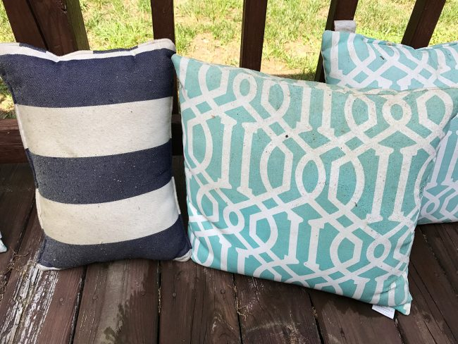 outdoor cushions that need cleaning from pollen and dirt