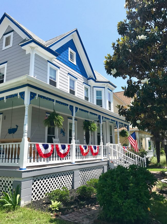 patriotic front porch on gray blue beach home