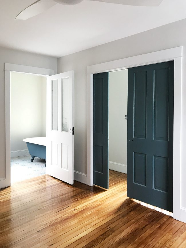 painted pocket doors navy