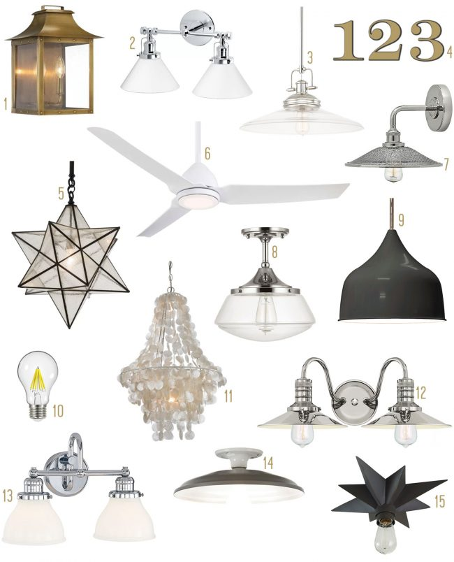 vintage rustic lighting mood board