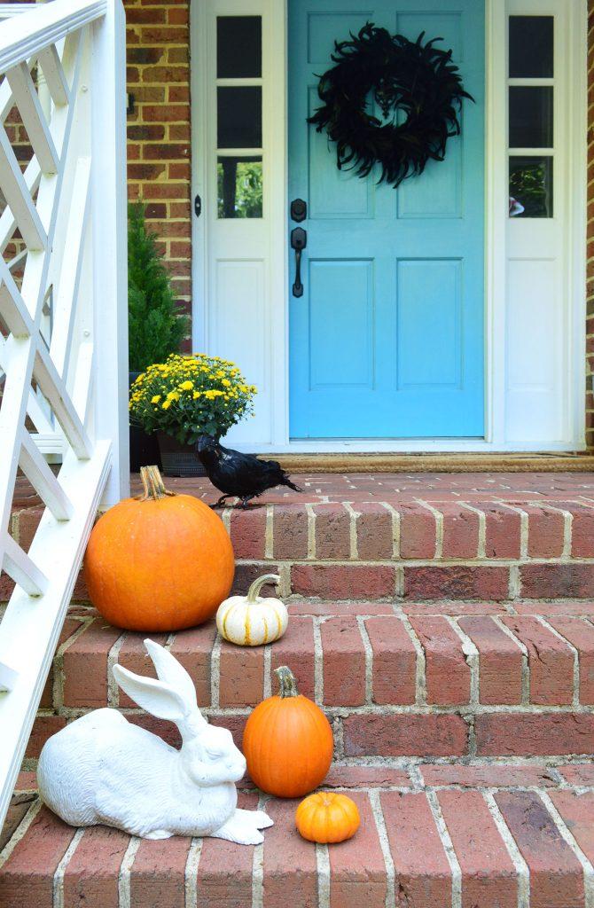 Halloween Porch Pumpkins Crow Feather Wreath