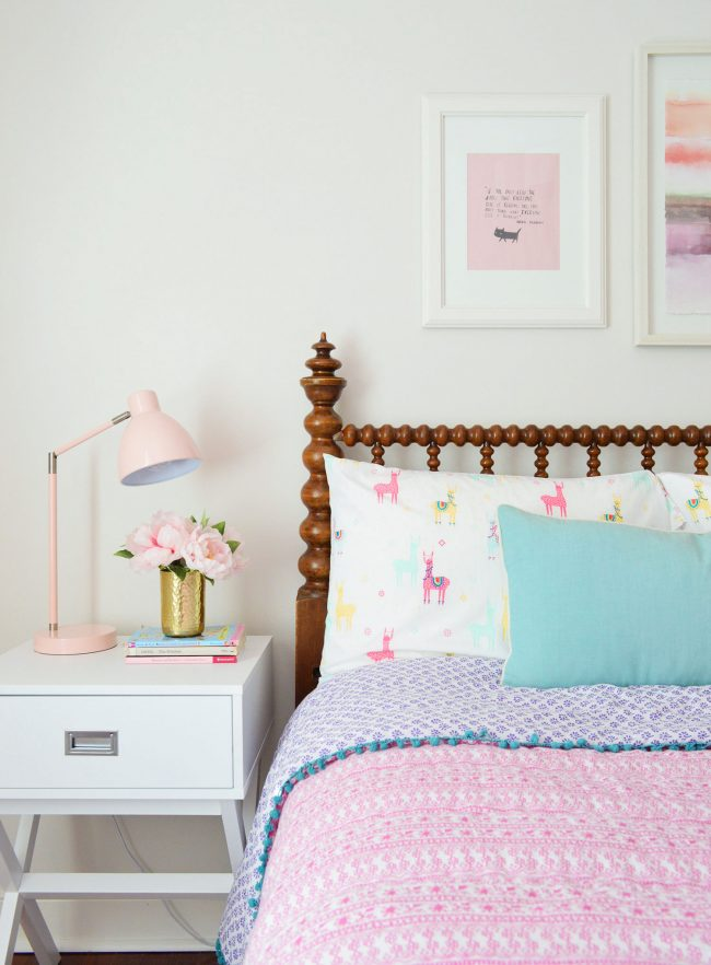 girls bedroom target sidetable pink bedding