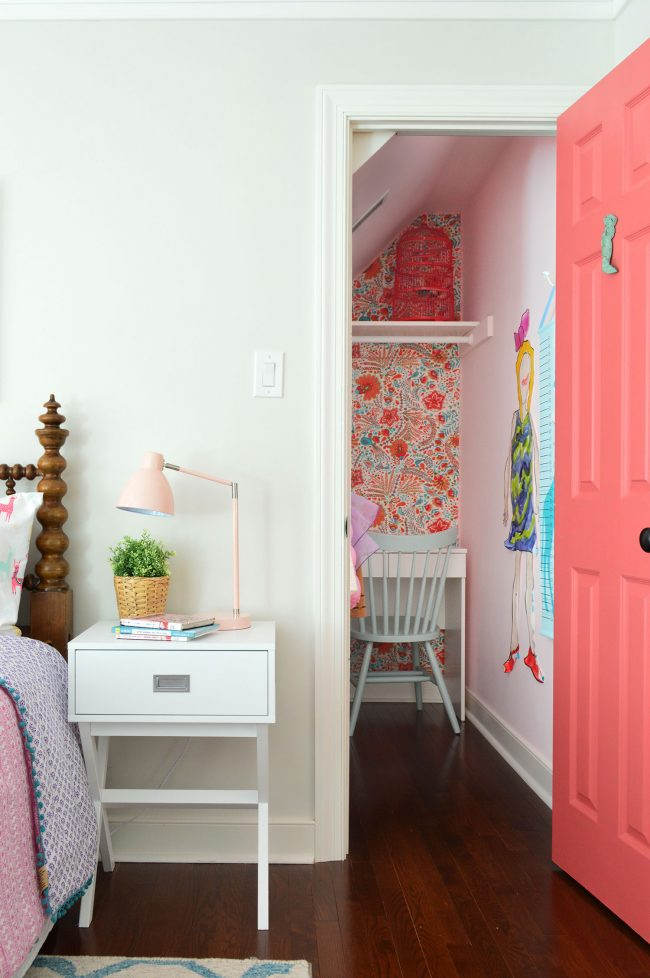 girls bedroom closet pink door wallpaper
