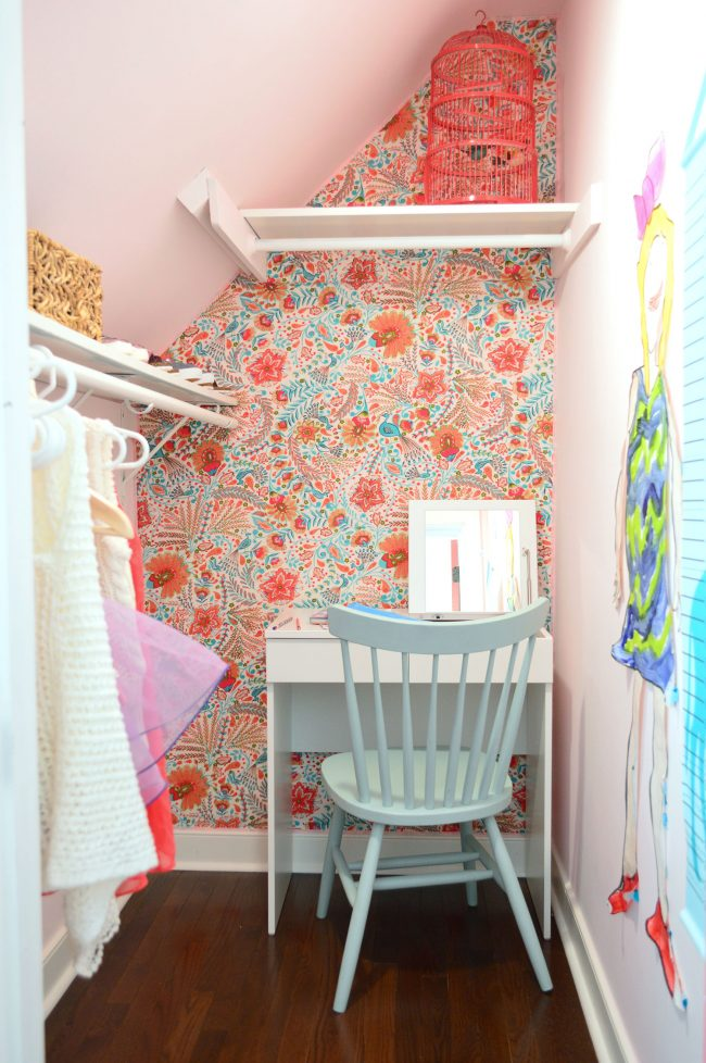 girls bedroom closet writing desk fabric wallpaper