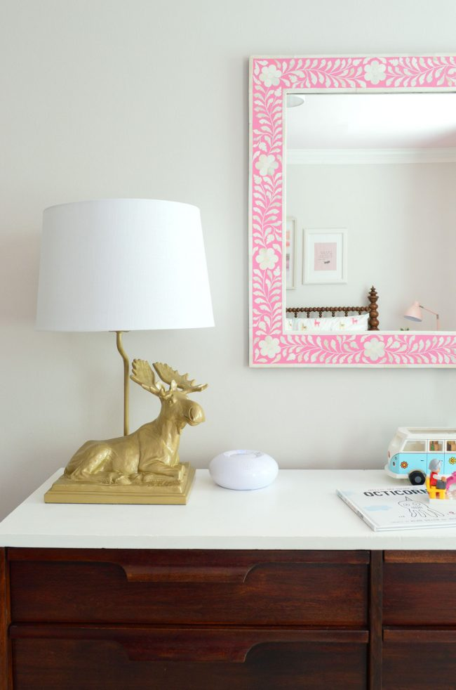 girls bedroom moose lamp pink mirror neutral wall