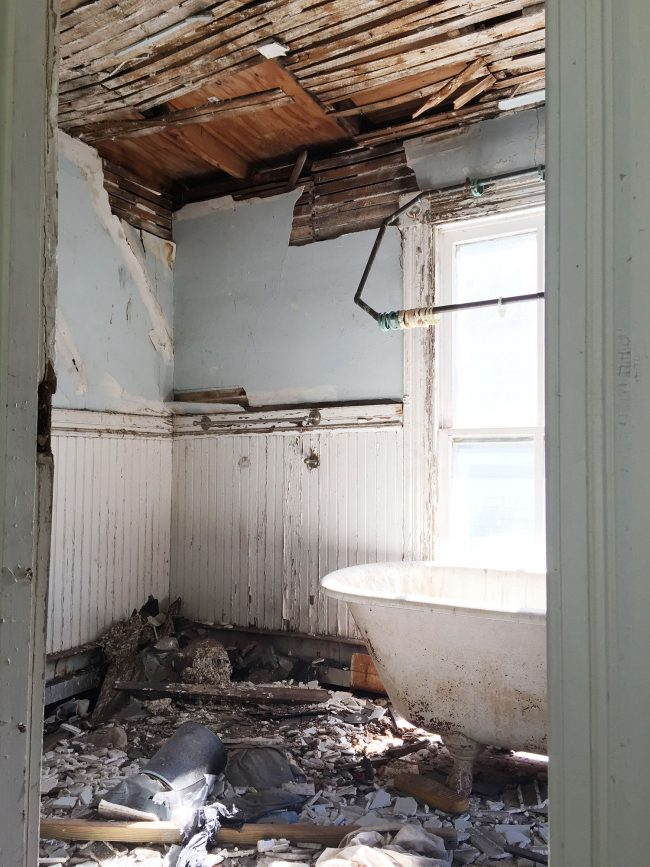 during demo our contractor moved it out into the bedroom which is where it lived for over half a year as destruction and went on around it