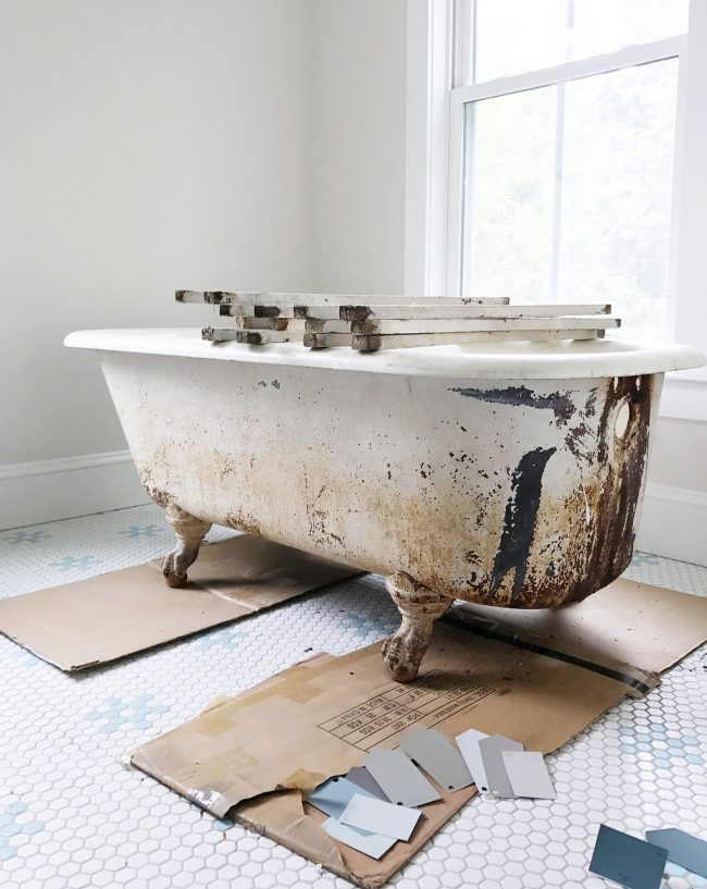 how to get paint out of a bathtub How To Refinish A Nasty, Old Clawfoot Tub how to get paint out of a bathtub