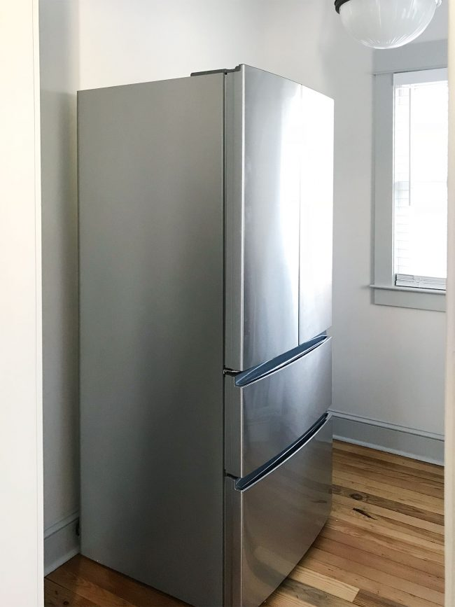 Apartment Size Refrigerator In Walk In Pantry Before Shelves