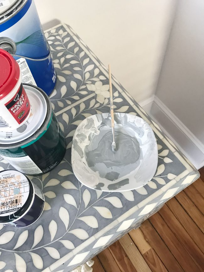 mixing paint to cover repaired inlay tiles