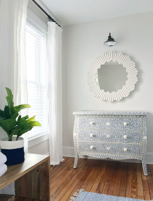 blue gray inlay restoration hardware dresser in beach house nook