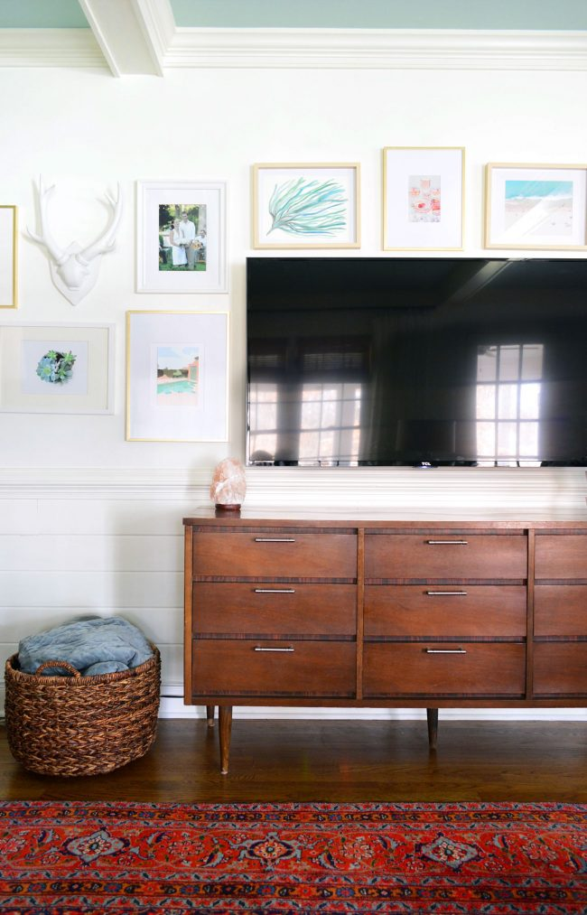 Wood Tv Console With Mounted And Picture Frame Gallery