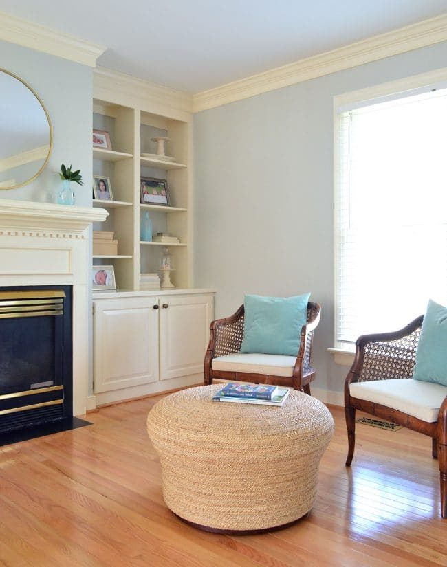 seating area in master bedroom simplified for staging purposes