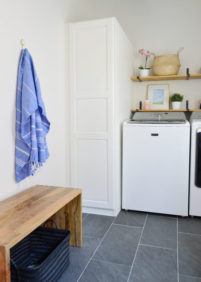 mudroom laundry room with single hook with towel on wall
