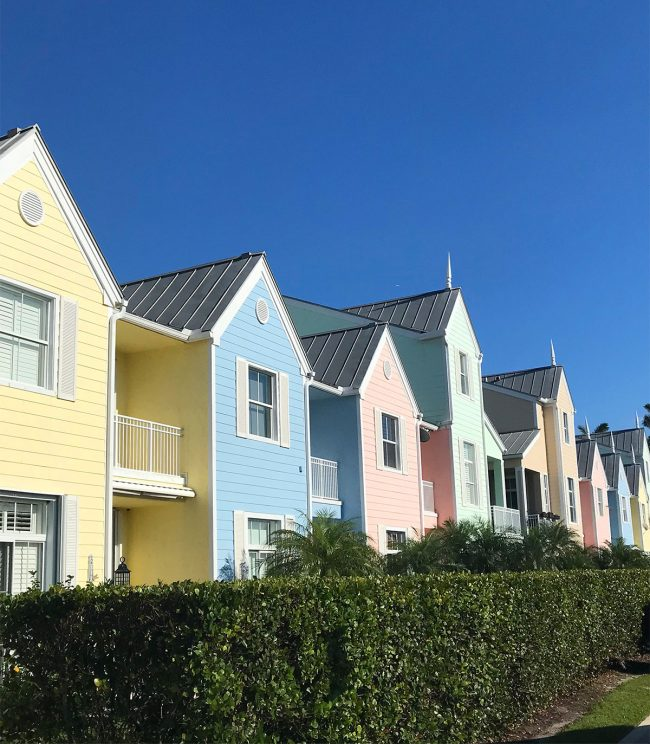 Row Of Colorful Pastel Townhouses In Lighthouse Point Florida