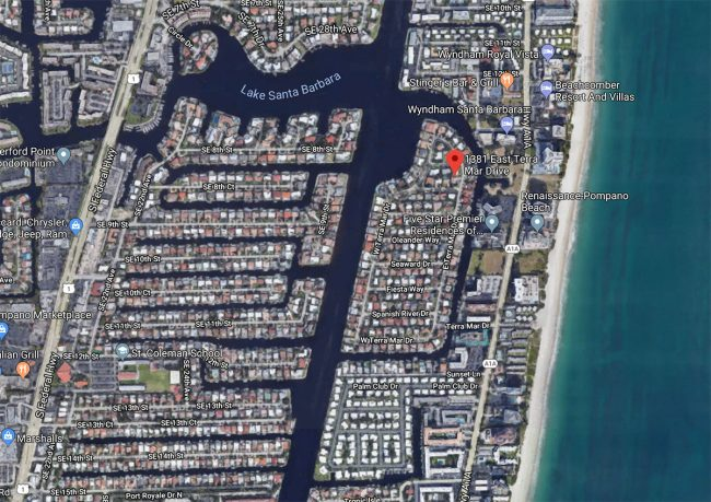 google map of Pompano Beach Florida with Terra Mar Island at center