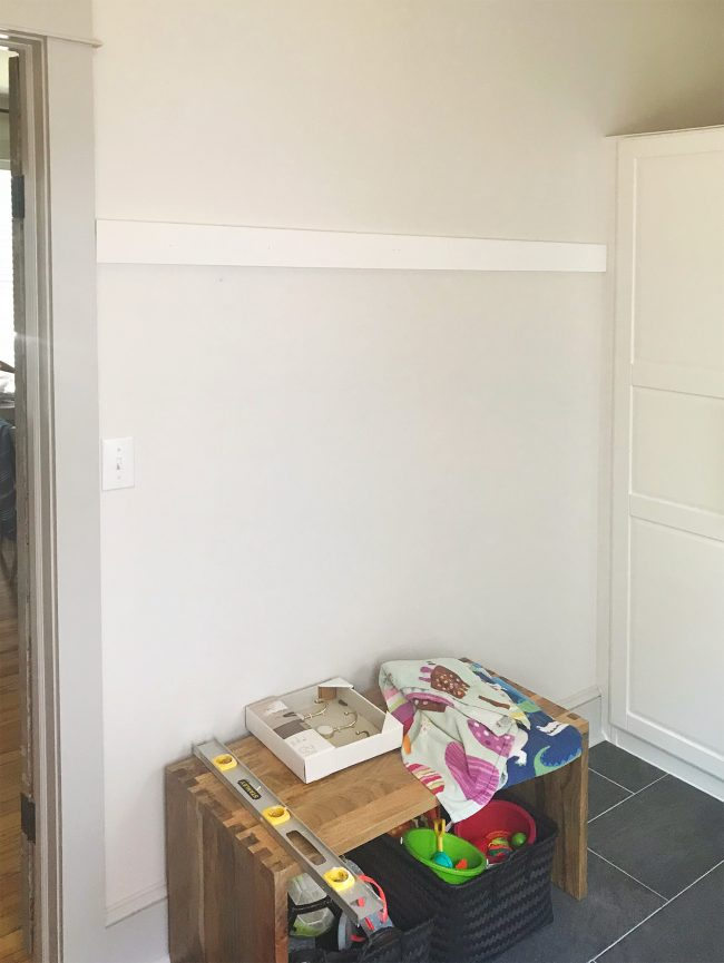White Board Hung On Wall In Mudroom