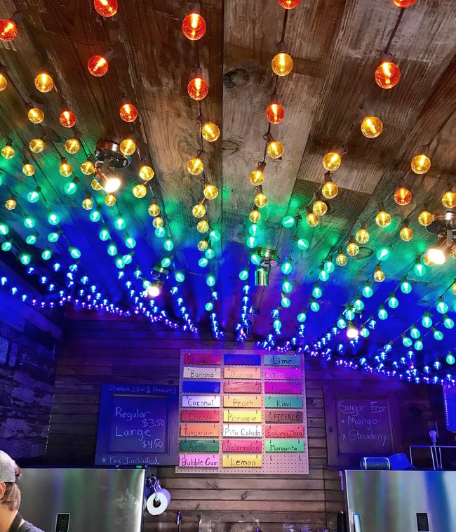 rainbow lights in peach beach shave ice shack in cape charles virginia
