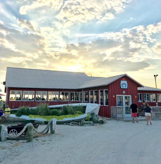 the shanty restaurant in cape charles virginia at sunset