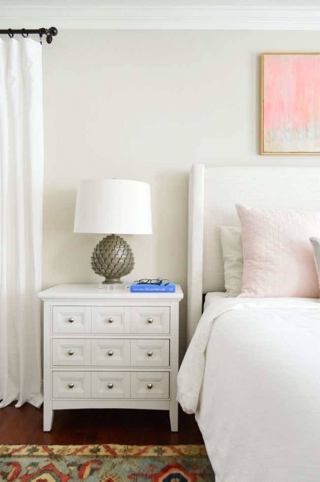 nightstand in master bedroom with edgecomb gray walls