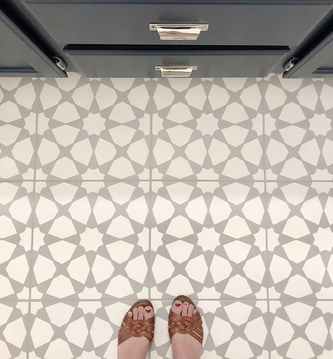 How To Paint A Bathroom Floor To Look Like Cement Tile (For