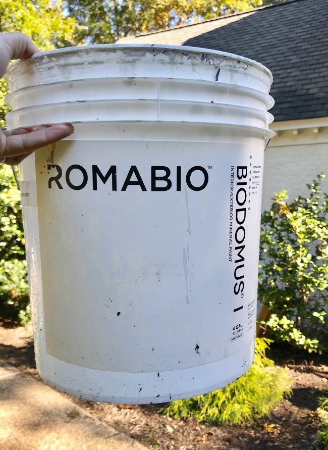 bucket of biodomus I brick mineral paint by romabio