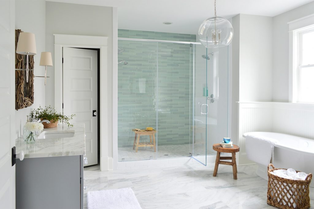 Aqua Glass Accent Shower Tile In Large Master Bathroom