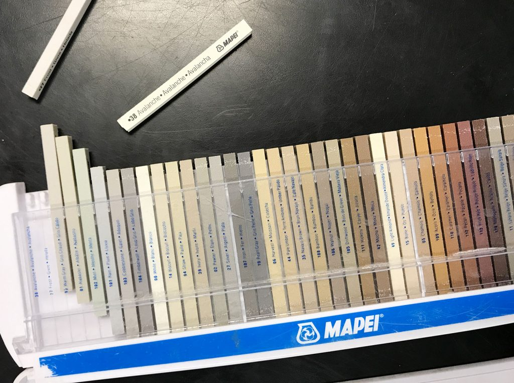mapei grout color sample sticks at store
