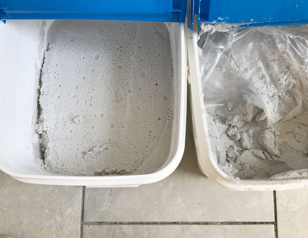 View inside of Mapei Flexcolor grout at premixed grout