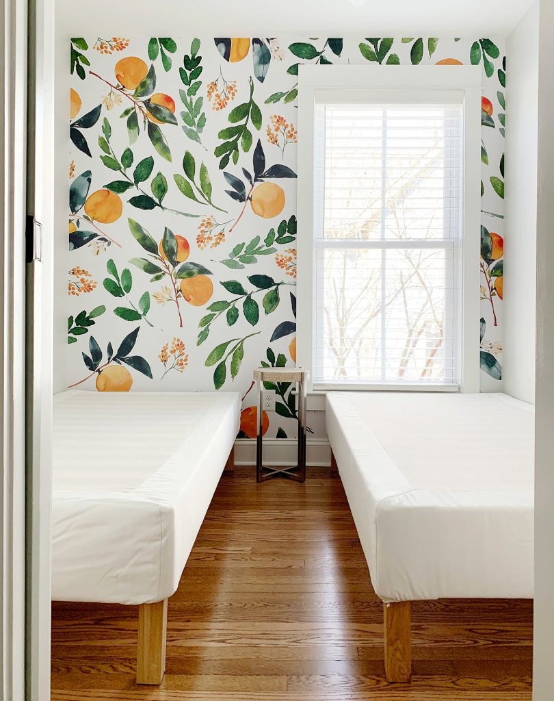 Removable Wallpaper Mural With Oranges In Room With Two Twin Beds