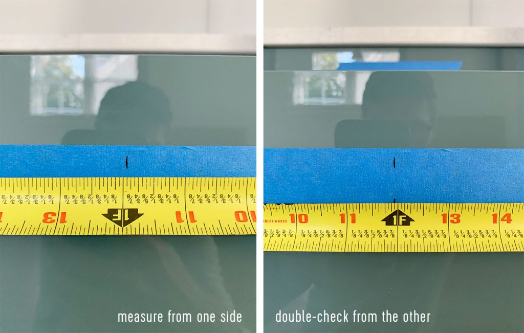 Center Line Marked On Drawer Fronts Using Tape Measure